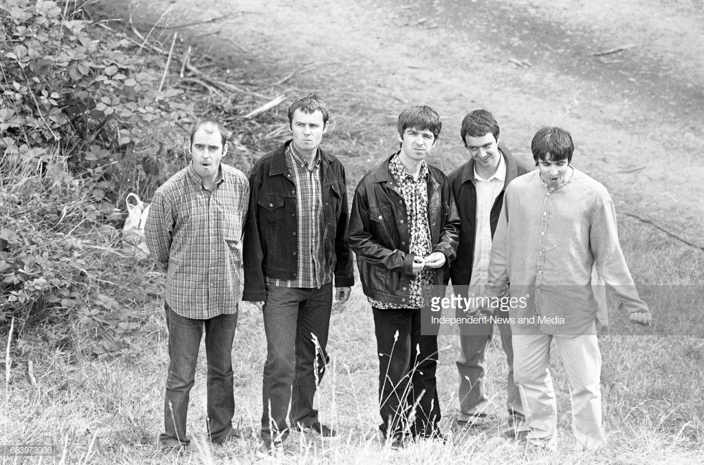 Oasis at Slane before there concert, 22/07/1995. (Part of the Independent Newspapers Ireland/NLI Collection). (Photo by Independent News and Media/Getty Images)